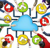 Aerial View of People and Cloud Computing Concepts