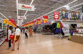Samara, Russia - August 30, 2014: Auchan Samara Store In Shopping Center Ambar. French Distribution
