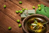Spa Concept:olive Oil And Green Olives