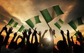 Silhouettes of People Holding Flag of Nigeria
