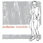 Stylish autumnal dude on grunge background.Fashion illustration