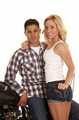 Couple Western Shirts Motorcycle She Smiles Stand
