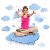 Pretty Young Girl With Thumbs Up Over Sky Background