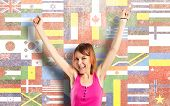 Lucky Woman Over Isolated Flags Background