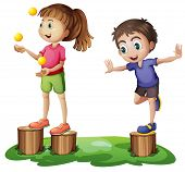 Illustration of the kids playing above the stumps on a white background