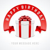 Open gift box with red bow and ribbon vector background. Happy birthday message.