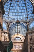 Interior archirectural details of Umberto I gallery in Naples, Italy