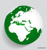 Modern green globe. Vector illustration.