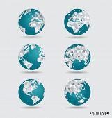 Modern globes. Vector illustration.
