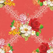 Seamless floral pattern with pink roses on red background. Elegance vector illustration