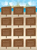 2015 Calendar Design With Wooden Signs