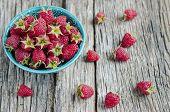 Fresh organic raspberries in a bowl