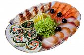 sliced fish on white plate