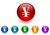 yen internet icons colorful set