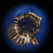 Krakow old town main market square at night, 360 degree miniplanet (Elements of this image furnished by NASA)