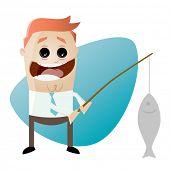funny cartoon businessman with big catch
