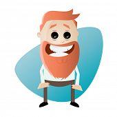 funny cartoon businessman with big beard