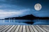 Trail and Lake at night