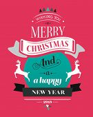 Merry christmas vector with text and icons on pink background