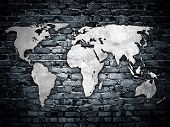 world map on brick wall