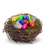 Colorful Chocolate Easter Eggs In Nest