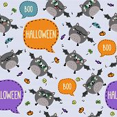 Seamless Halloween Pattern With Cute Flying Bats