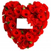Red Heart Of Rose Flowers With White Card