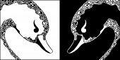 Ornamental Swan Black And White Heads
