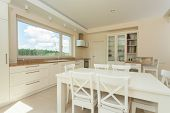 Contemporary Kitchen With Big White Table