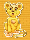 Illustration of a single lion cub