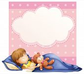 Illustration of a banner with a  girl sleeping background