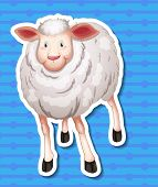 Illustration of a sheep with blue background