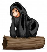 Illustration of a chimpanzee on a log