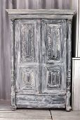 Hand Crafted Grey Wooden Wardrobe