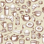 Seamless Hand Drawn Beige Pattern With Coffee And Tea Cups And Sweets