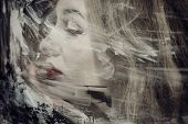 Beautiful Woman Through The Dirty Glass Closeup