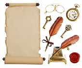 Vintage Paper Scroll And Antique Accessories