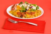 foto of enchiladas  - Chicken Enchilada Dinner with Egg and Avocada Salad on Red Table - JPG