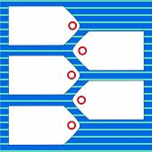 Set of five white tags on a blue lined background