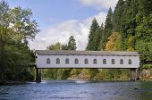 stock photo of mckenzie  - View of the historic Goodpasture covered bridge outside of Eugene Oregon as viewed while floating down the river - JPG