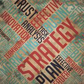 Strategy - Grunge Word Cloud Concept.