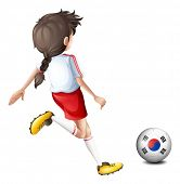 Illustration of a girl kicking the ball with the South Korean flag on a white background