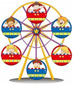 Illustration of the happy kids riding the ferris wheel on a white background