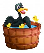 Illustration of a mini pool with a duck and her ducklings on a white background