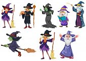 Illustration of a group of witches on a white background