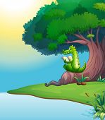 Illustration of a crocodile reading under the tree