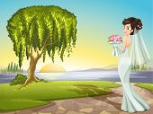 Illustration of a bride at the road
