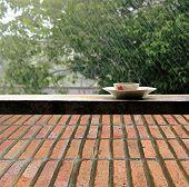Rain On Nature. Abstract Background  Brick Wall Floor