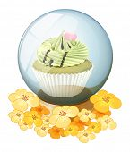 Illustration of a crystal ball with a cupcake on a white background
