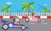 Illustration of the girls car racing